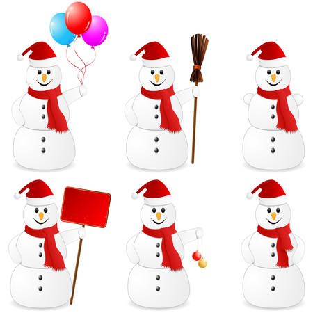 besom: snowman set isolated on white Illustration