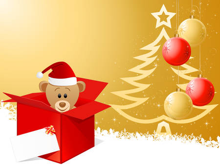 christmas card and teddy bear with Santa Claus hat  Vector