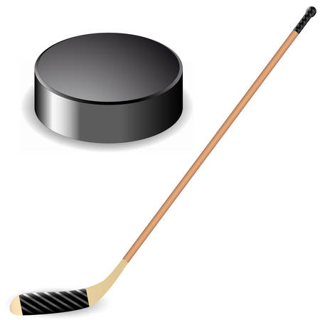 hockey sobre hielo: palo de hockey y el disco de hockey