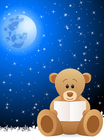 stuffed animals: teddy bear holding clear card and blue night background  Illustration