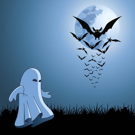 bats and ghost on the halloween card  Vector
