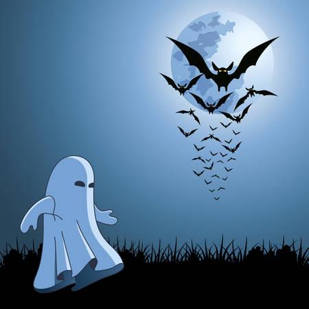 Fledermäuse und Ghost auf die Halloween-Karte  Standard-Bild - 8222987
