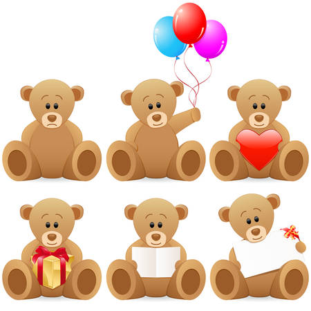 teddy bear icon set Vector