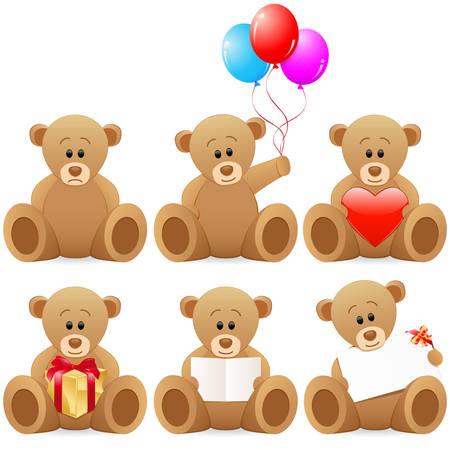 Teddy beer icon set Stock Illustratie