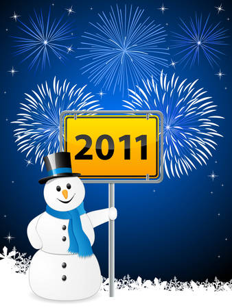 New Year's Eve 2011 with snowman Stock Vector - 8311710