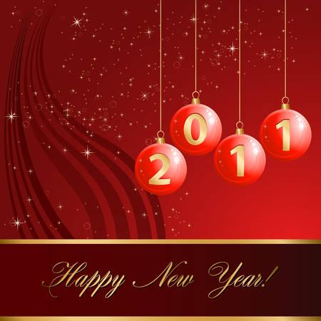 Christmas balls 2011 - Happy New Year! Stock Vector - 8311709