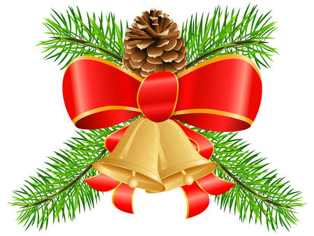 bestowal: Christmas decoration with bow, pinecone and jingle bells