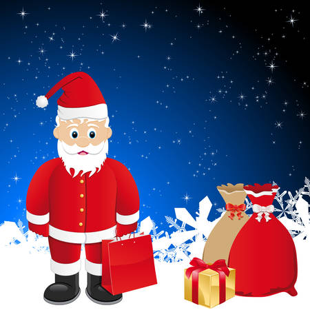 Santa Claus with many gifts  Vector
