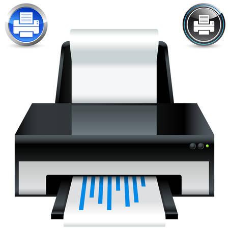 impresora: conjunto de icono y el bot�n de la impresora Vectores
