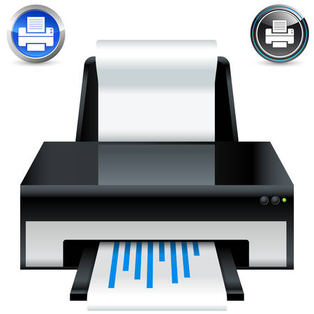 printers: printer icon and button set Illustration