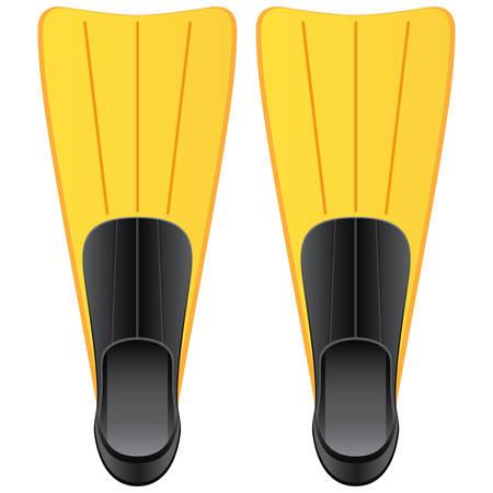 flippers: aletas amarillos para el buceo