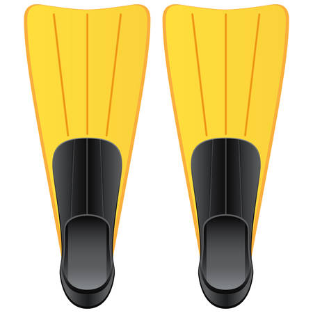 flippers: yellow flippers for diving Illustration