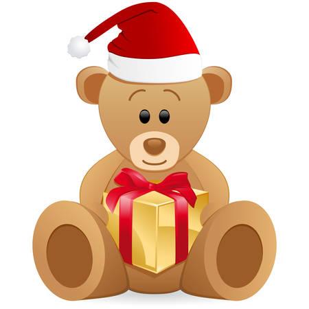 osos navideños: Oso de peluche con caja de regalo  Vectores