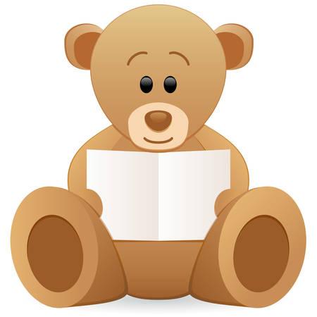 teddy bear holding clear card