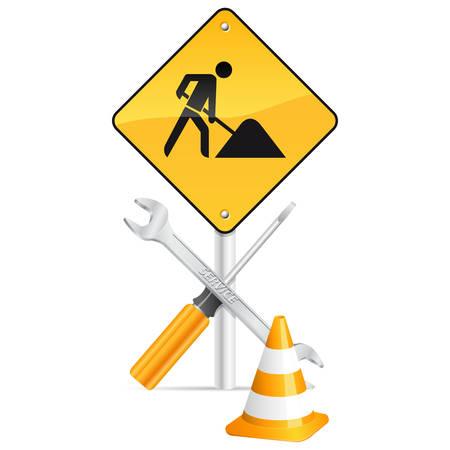 road warning sign: signo de destornillador, la llave, la torre y la carretera aislada sobre fondo blanco
