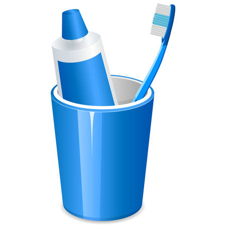 plastik: brushing teeth and toothpaste in a cup