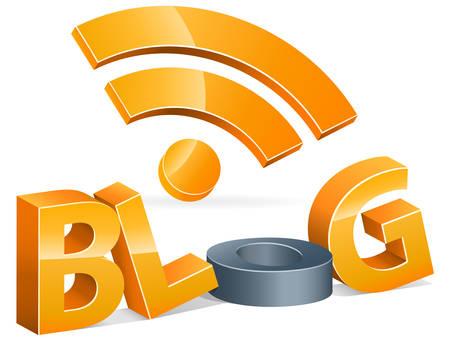 rss: rss blog 3d Illustration