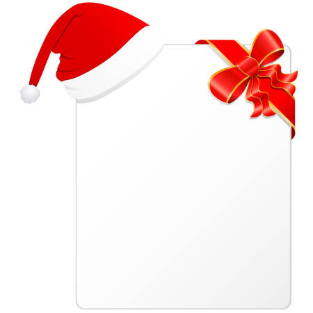 christmas card with santa hat and red ribbon
