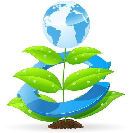 icono contaminacion: eart azul en planta verde