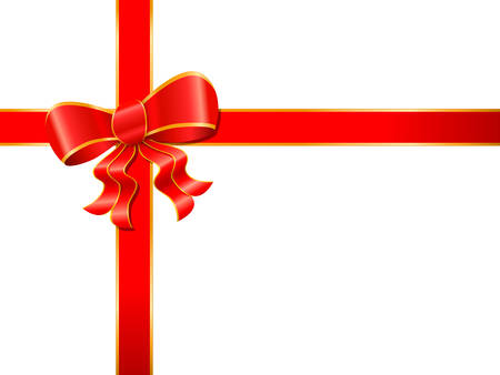 bestowal: red ribbon with bow on white background