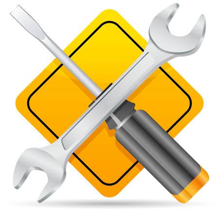 Schraubendreher, Schraubenschlüssel und Road-sign  Vektorgrafik