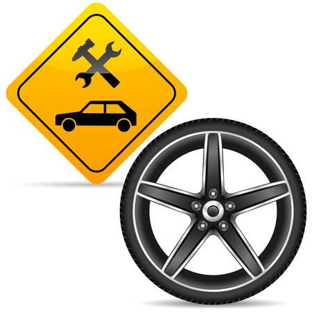 aluminum wheels: ruedas de aluminio y el signo de la estaci�n de servicio amarillo