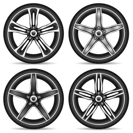 aluminum wheels: conjunto de ruedas de aluminio Vectores