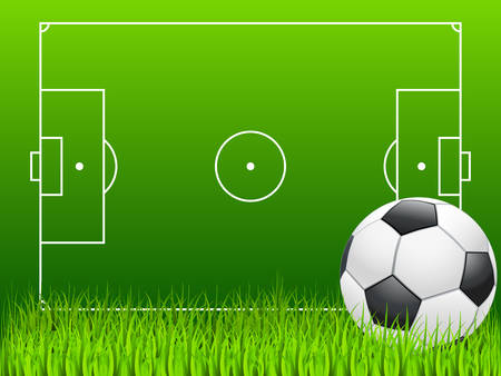 terrain: soccer ball and soccer field Illustration
