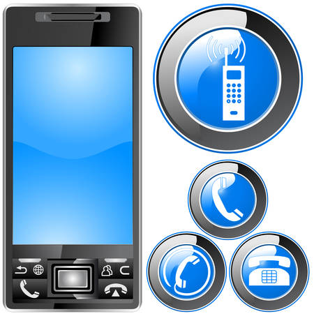 electronic organizer, PDA, mobile phone and buttons  Vector