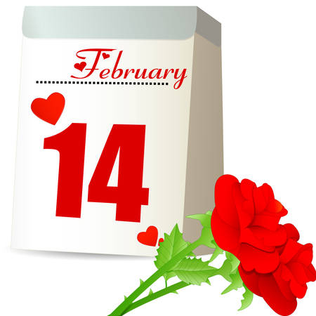 feb: tear-off calendar and red roses