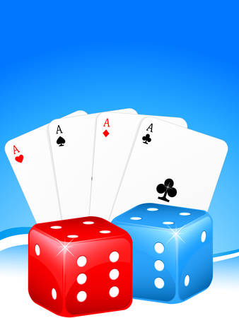 gamers: gambling background with cards and dice
