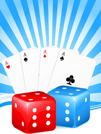 gambling background with cards and dice Stock Vector - 8576491