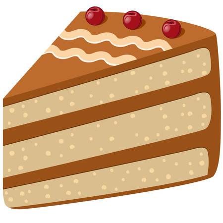 trozo de pastel: Tarta de cerezas Vectores