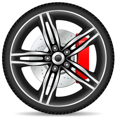 aluminum wheels: alloy rim and brake disc Illustration