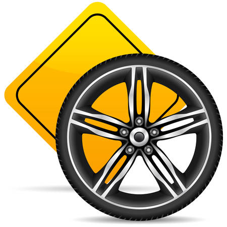 Aluminum wheel and yellow road sign Stock Vector - 8678920