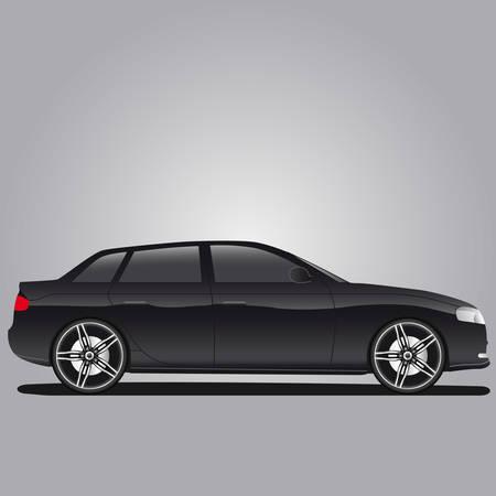 black car with alloy rim Stock Vector - 8678922