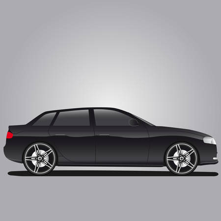 black car with alloy rim Vector