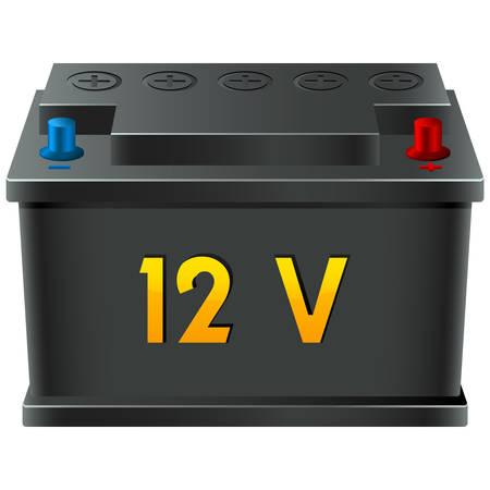 onderhoud auto: auto batterij 12V Stock Illustratie