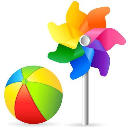 toys, beach ball and pinwheel Illusztráció