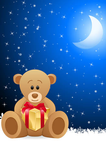 star and crescent: teddy bear holding gift box and blue night background  Illustration