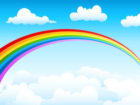 blauwe hemel en rainbow Stock Illustratie
