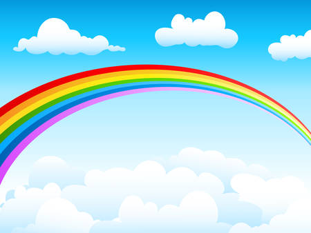cloudy day: blue sky and rainbow