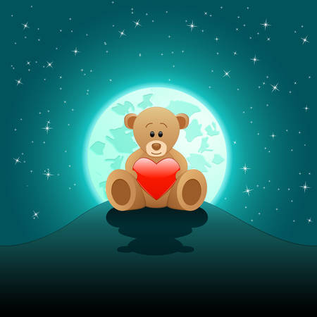heartache: cute Teddy bear with red heart in the moonlight Illustration