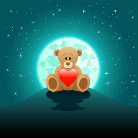 teddy bear love: cute Teddy bear with red heart in the moonlight Illustration