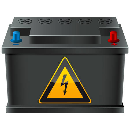 spannung: Autobatterie mit Hochspannungs-Schild