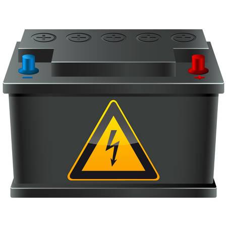 bateria: bater�a de autom�vil con signo de alto voltaje Vectores