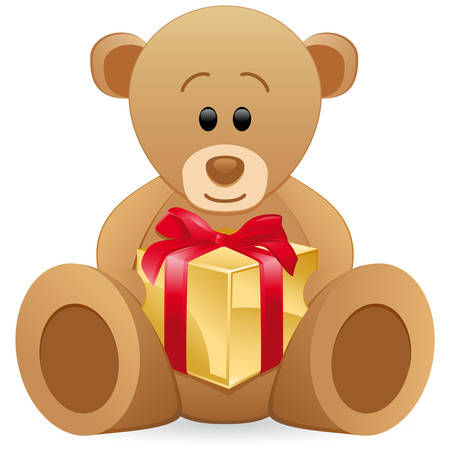teddy bear christmas: teddy bear with gift box