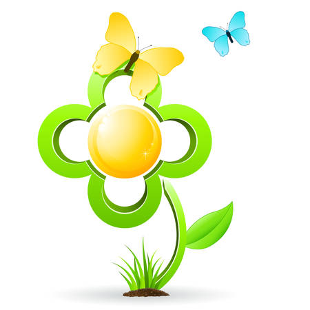 flower and butterfly Stock Vector - 8678935