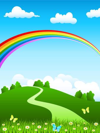 cartoon rainbow: paisaje de la naturaleza con arco iris Vectores