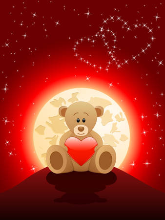 cartoon stars: Valentines Day card with a teddy bear
